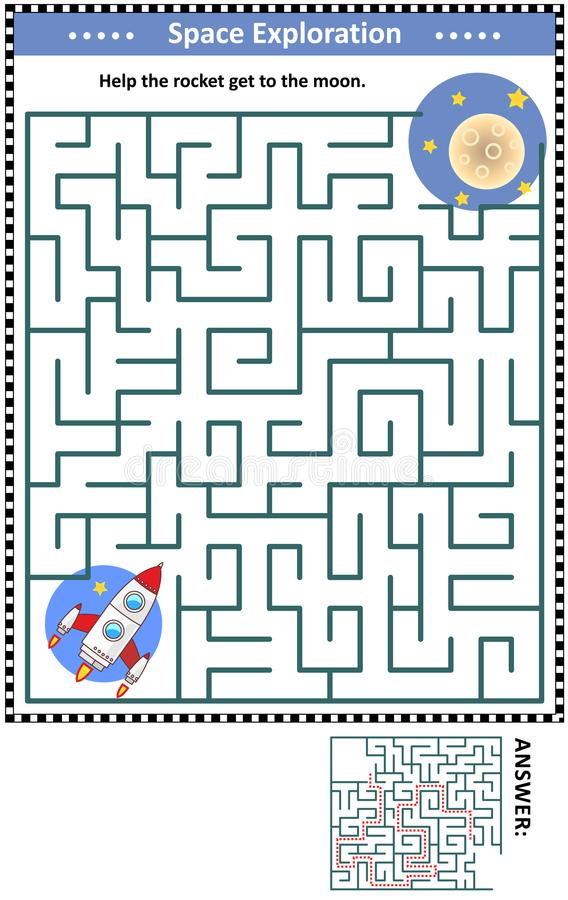 Maze game with rocket and moon vector illustration