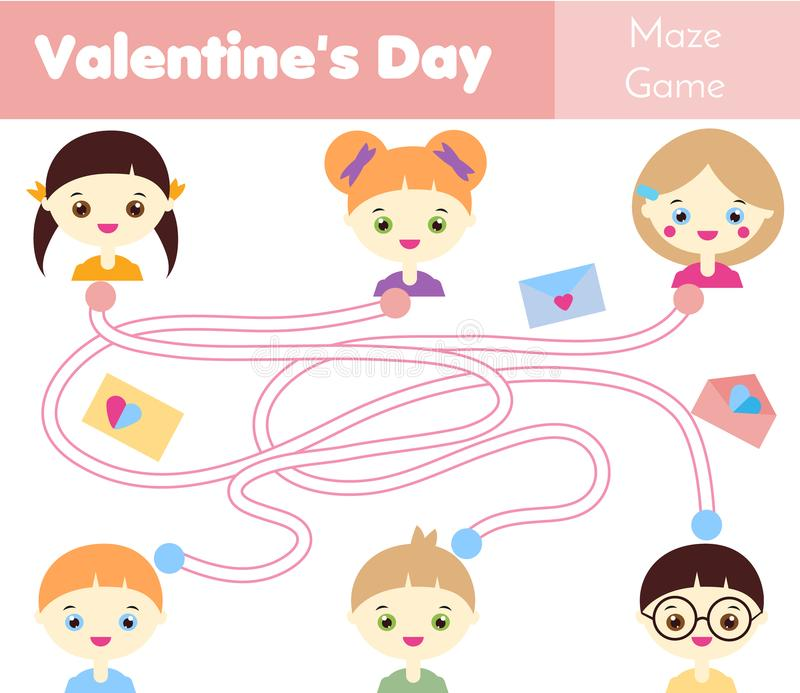 Maze game. St Valentine`s day theme. Kids activity sheet. Help to deliver love letters royalty free illustration