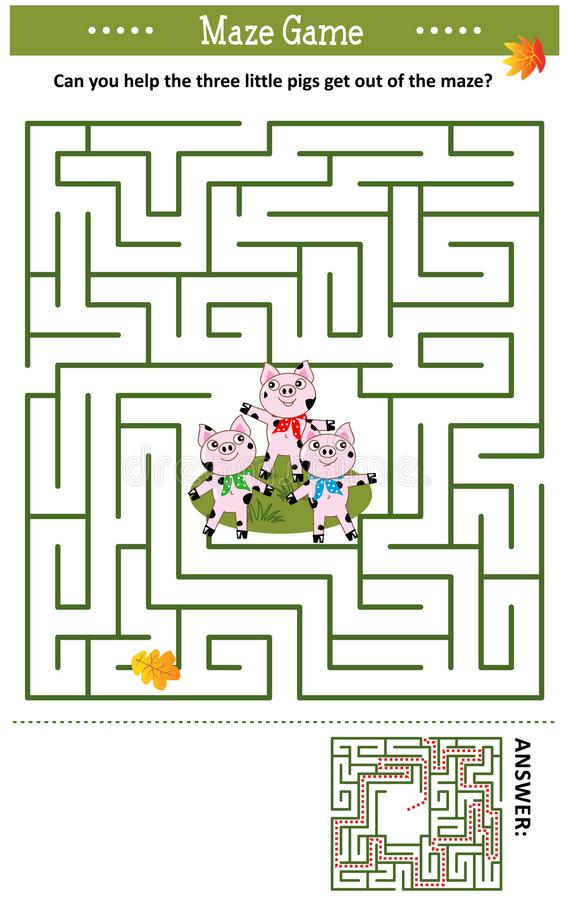Maze game with three little pigs vector illustration