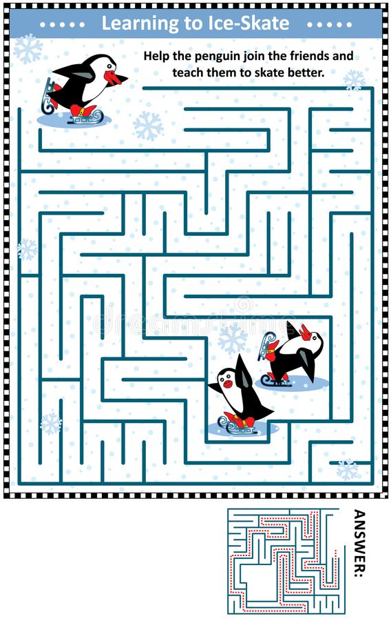 Free Maze Game With Penguins Learning To Ice Skate Royalty Free Stock Photo - 103695915