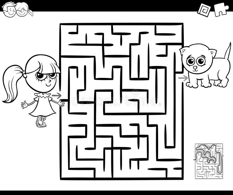 Maze with girl and cat for coloring vector illustration