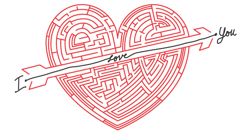 Maze Heart - heart in labyrinth royalty free illustration
