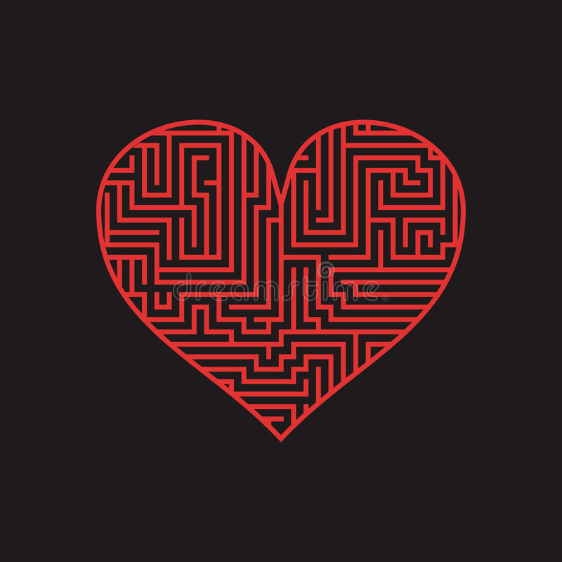 Free Maze Heart Valentine Day Puzzle Find The Way Red On Black 1 Stock Photography - 78526482