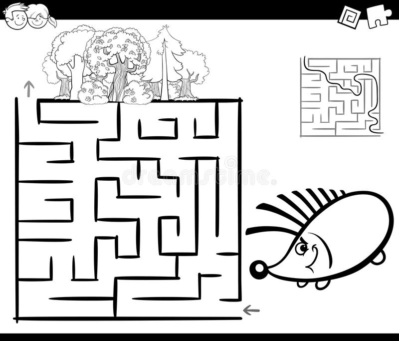 Download Maze With Hedgehog Coloring Page Stock Vector