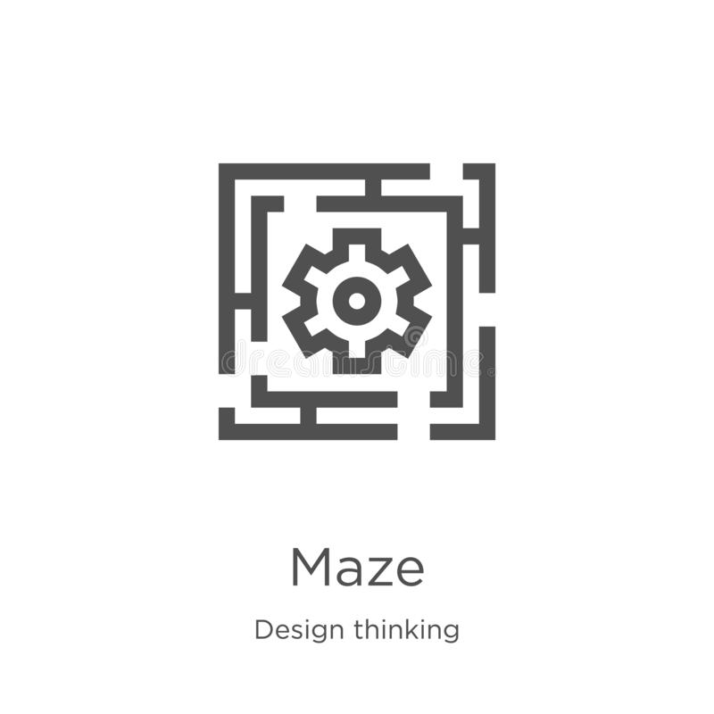maze icon vector from design thinking collection. Thin line maze outline icon vector illustration. Outline, thin line maze icon vector illustration