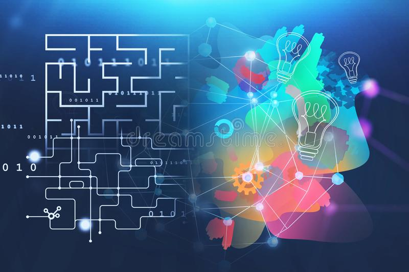 Maze and idea concept on blue vector illustration
