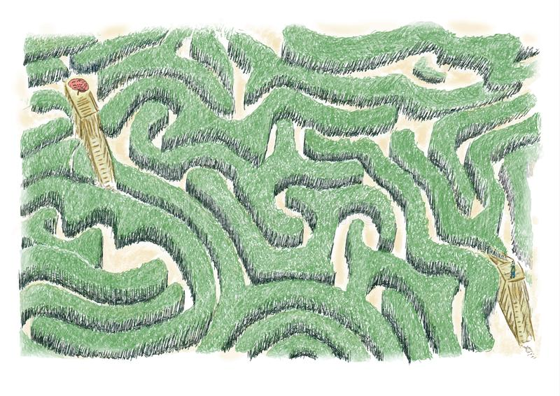 Maze of ideas.Concept of maze to be crossed to find the ideas, oneself and to check with the foreground of the brain. stock image