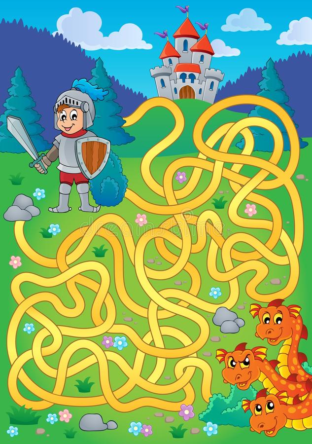 Maze 1 with knight and dragon theme royalty free illustration