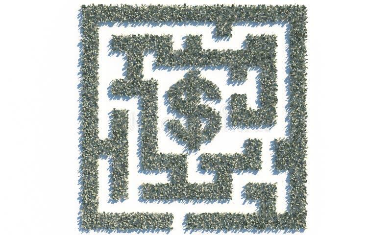 Maze Labyrinth financiero hecho de billetes de banco de los usd libre illustration