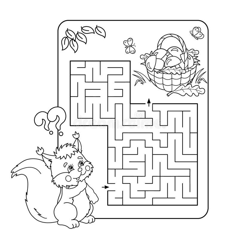 Maze Or Labyrinth Game For Preschool Children. Puzzle. Coloring Page ...