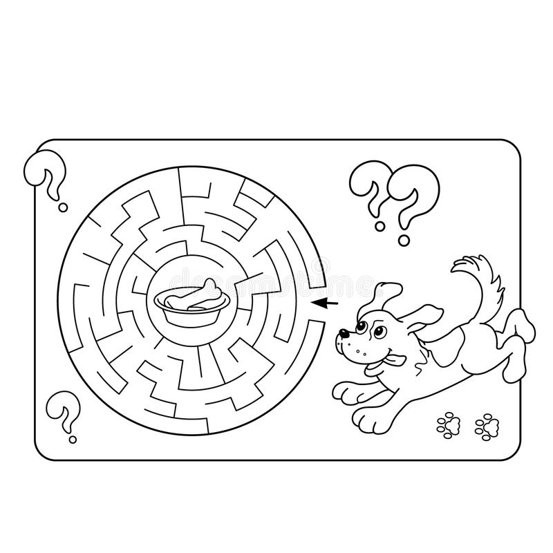 Maze Or Labyrinth Game For Preschool Children Puzzle Coloring Page Outline Of Dog With Bone Stock Vector Illustration Of Kids Character 85070035