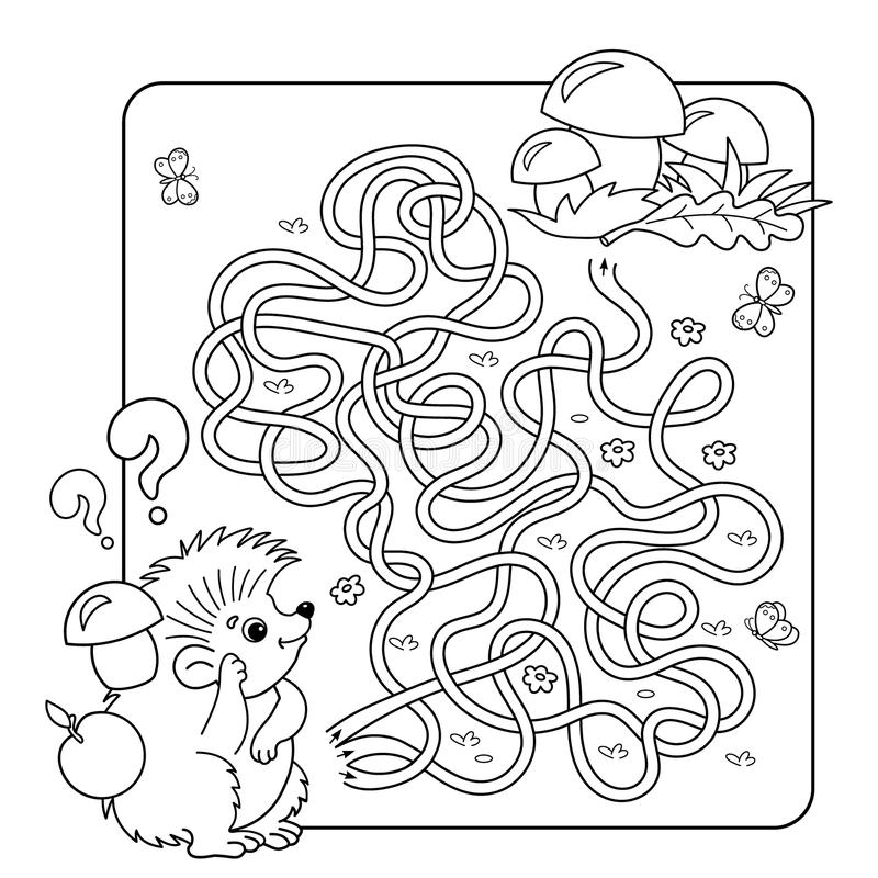 Maze Or Labyrinth Game For Preschool Children Puzzle Tangled Road Stock Vector