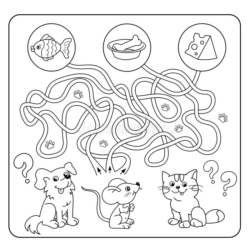 Maze or Labyrinth Game for Preschool Children. Puzzle. Tangled Road. Matching Game. Cartoon Animals and their Favorite Food vector illustration