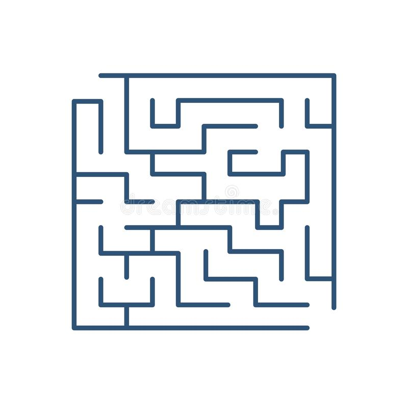 Maze or labyrinth isolated on white background. Tour puzzle with entrance and exit. Riddle to solve. Decorative design stock illustration