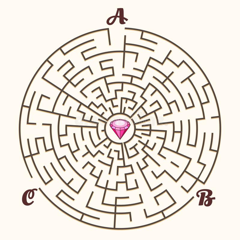 Maze labyrinth path game. Maze. Vector labyrinth path game, illustration maze concept with three entrances and diamond solution stock illustration