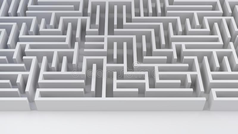 Maze labyrinth problem and solution business strategy success difficulty 3D illustration. Maze business challenge risk and decision labyrinth 3D illustration royalty free illustration