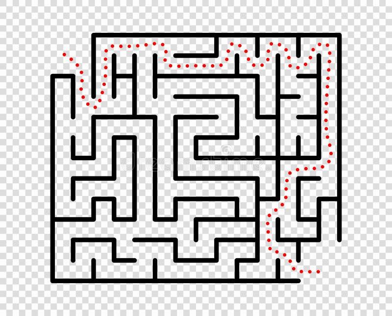 Maze Labyrinth rectangular es un juego de la lógica Concepto del negocio, logro Elemento del vector aislado en un fondo transpare stock de ilustración
