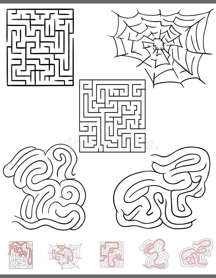 Maze leisure game graphics set with solutions. Illustration of Black and White Mazes or Labyrinths Leisure Games Set with Solutions royalty free illustration