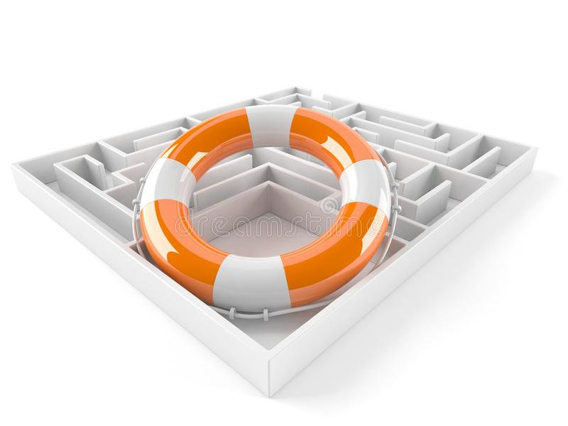 Maze with life buoy royalty free illustration