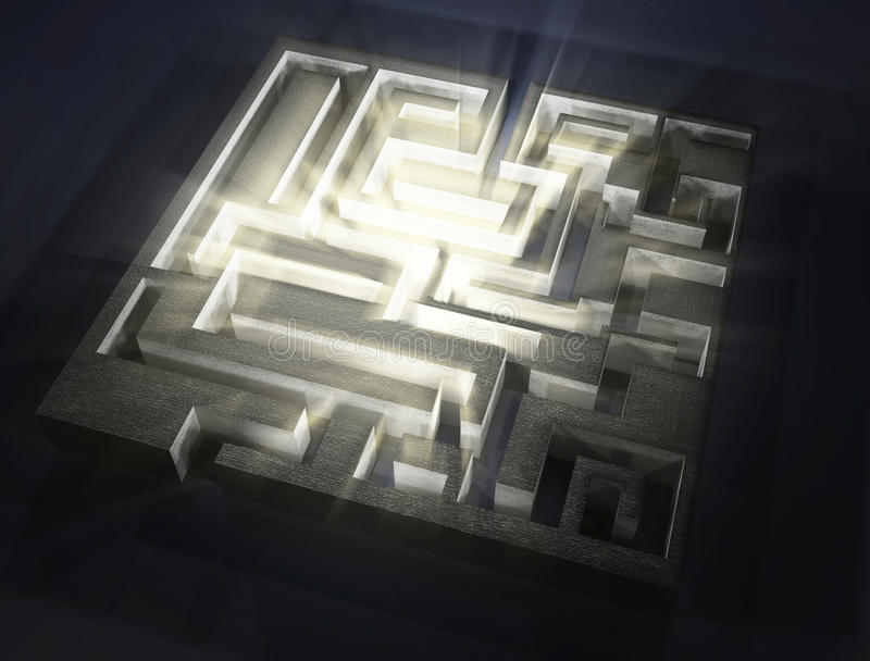 Maze with light aura inside. 3d image royalty free illustration