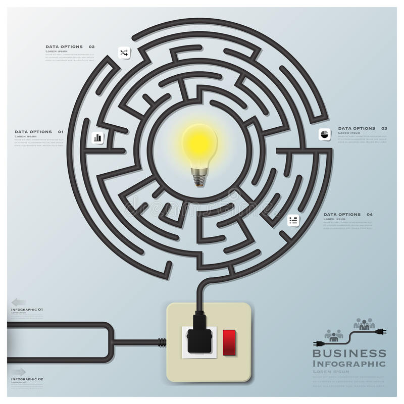 Maze Light Bulb Electric Wire Line Business Infographic. Design Template stock illustration