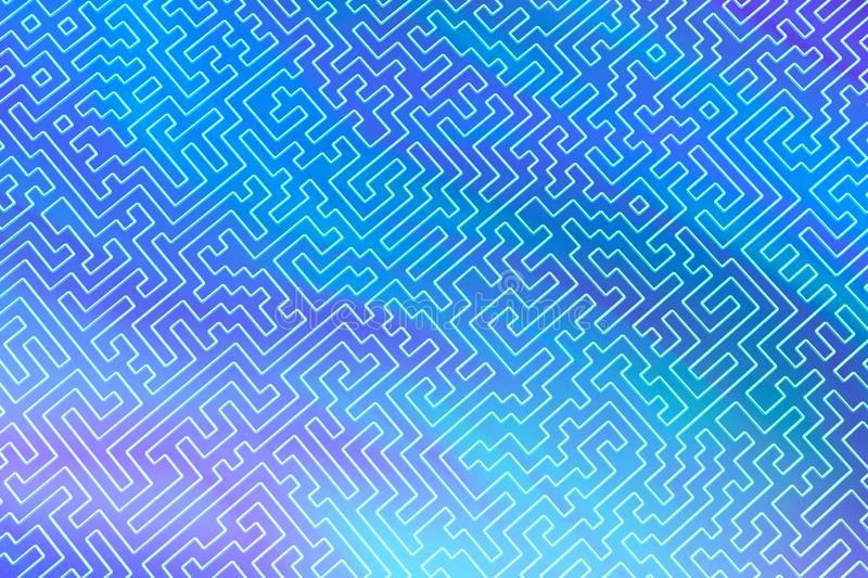 The maze is like an abstract three-dimensional pattern of psychedelic colors. 3D visualization, illustrations. I royalty free illustration