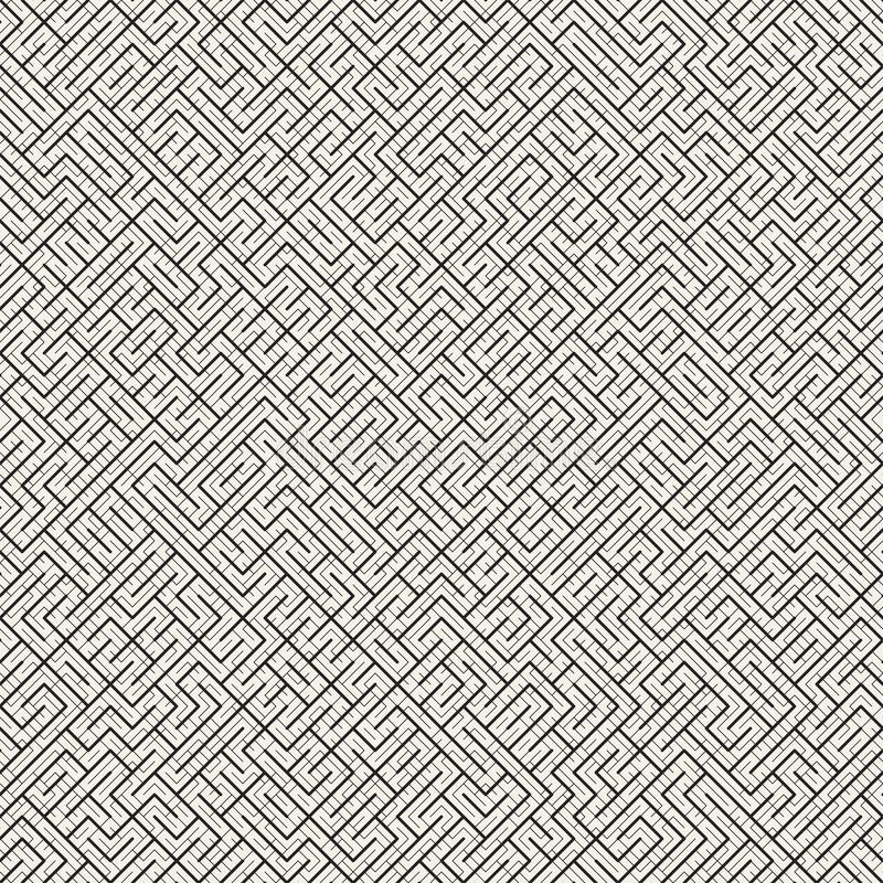 Maze Line irregolare Progettazione geometrica astratta del fondo Reticolo in bianco e nero senza giunte di vettore illustrazione di stock
