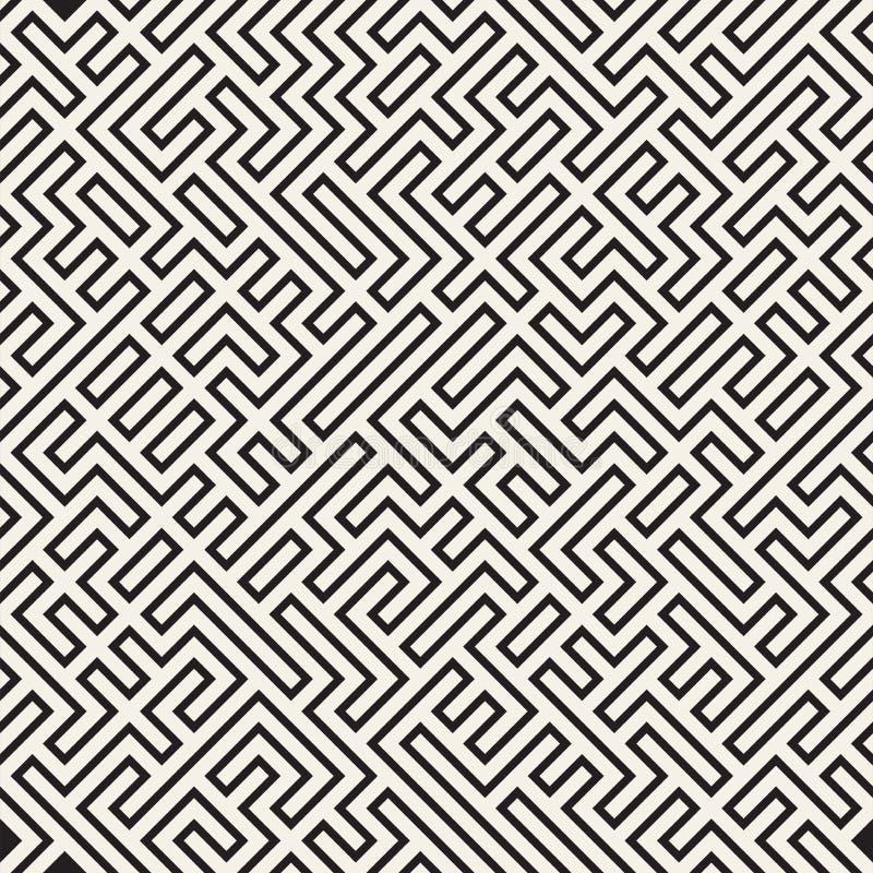 Maze Lines irregular Diseño geométrico abstracto del fondo Modelo caótico blanco y negro inconsútil del vector ilustración del vector