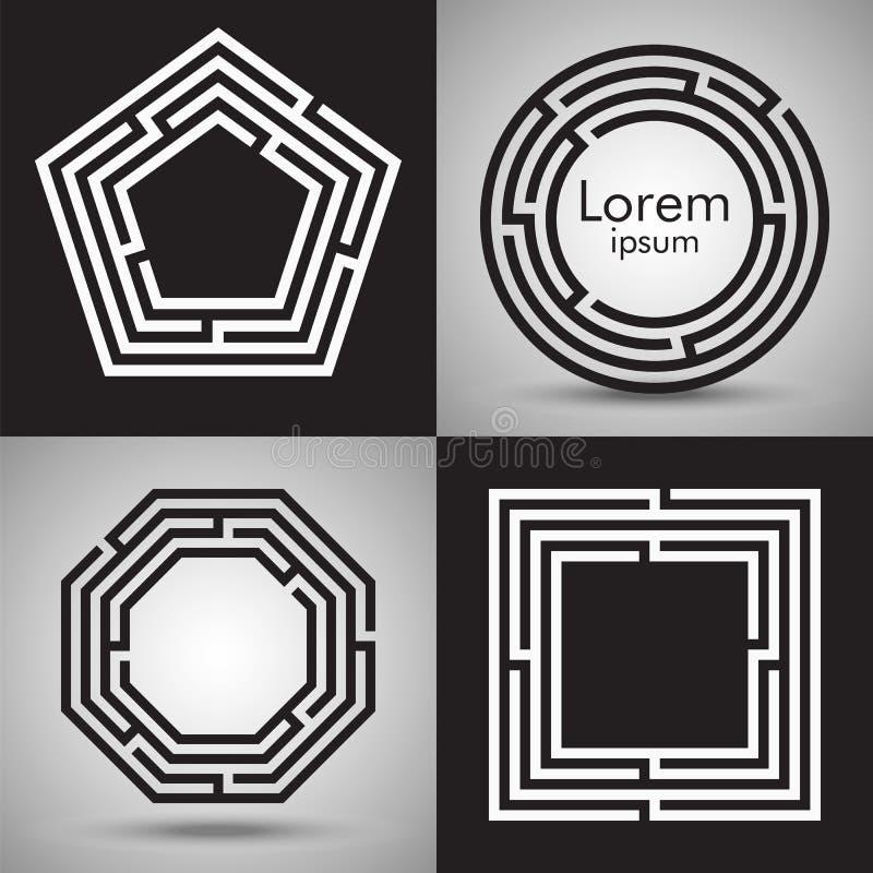 Maze logo collection. Vector logotype design set. Maze logo collection. Labyrinths of various shape: circle, square, polygon. Vector puzzle design set. Concept royalty free illustration