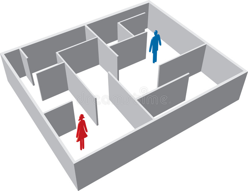 Download Maze with man and woman stock vector. Image of woman, distance - 4096739