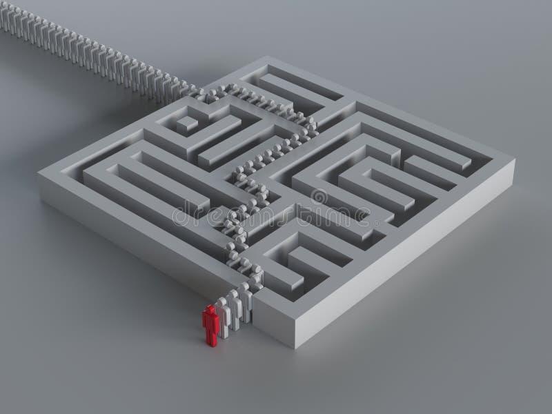 Maze med ledarskap stock illustrationer
