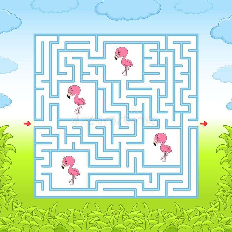 maze modiga ungar Rolig labyrint Framkallande arbetssedel f?r utbildning Aktivitetssida Pussel f?r barn Gullig tecknad filmstil royaltyfria bilder