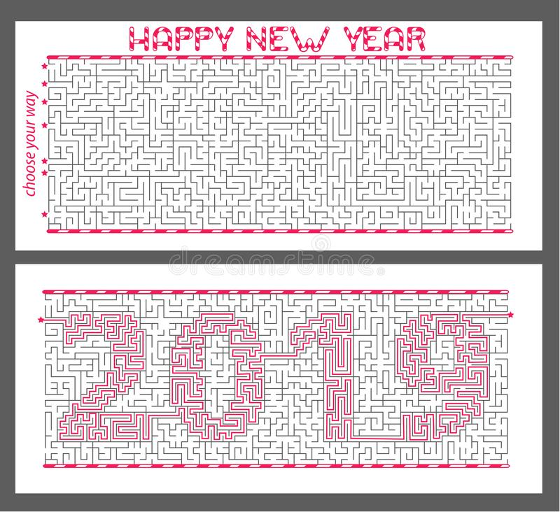 maze of mystery with the encrypted inscription 2019. The concept is a symbol of the new year stock illustration