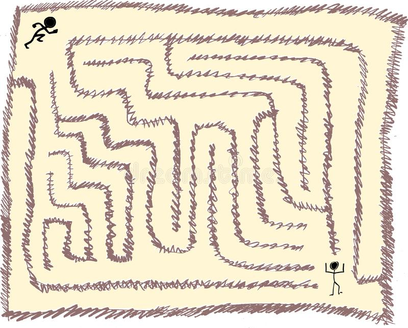 Maze number eight, very easy, pencil stroke style, vector graphic stock illustration