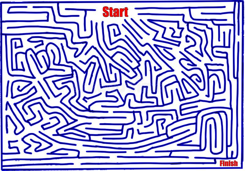 Maze number eleven, hand made, medium difficulty, bright blue vector illustration