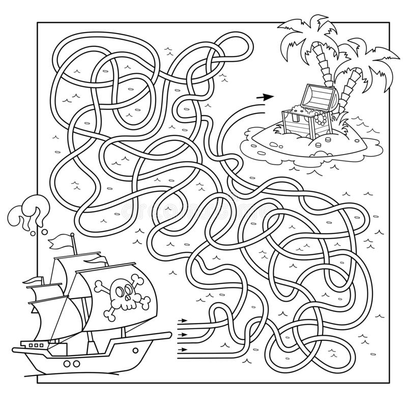 Free Maze Or Labyrinth Game For Preschool Children. Puzzle. Tangled Road. Coloring Page Outline Of Cartoon Pirate Ship With Island Of Stock Images - 175986934