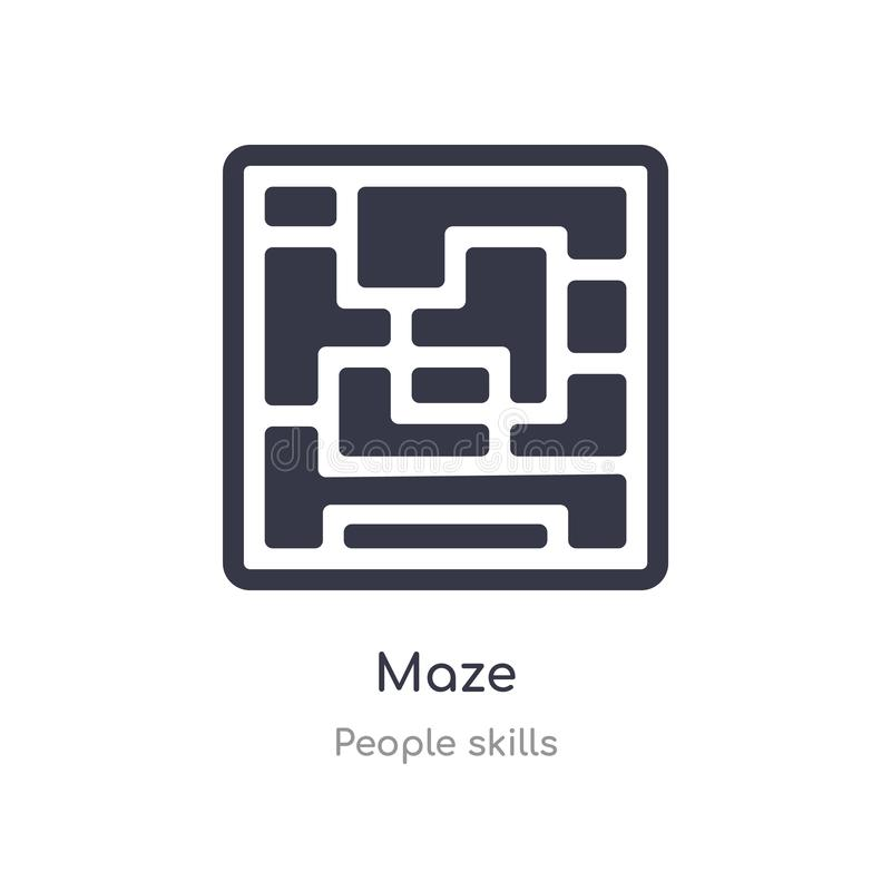 maze outline icon. isolated line vector illustration from people skills collection. editable thin stroke maze icon on white royalty free illustration