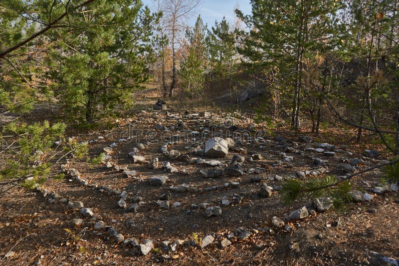 Maze for pagan retuals in the forest stock image