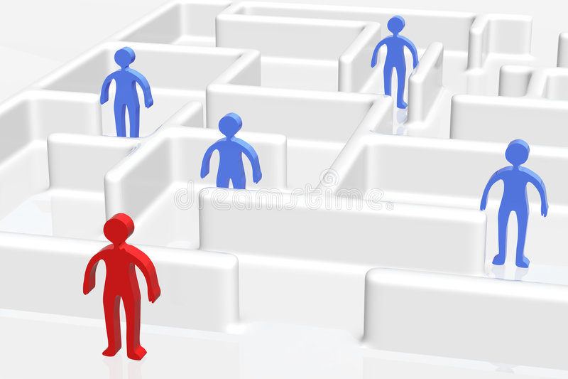 Maze And People stock illustration