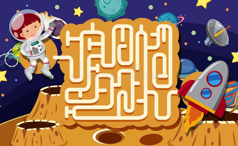 Maze Puzzle Game Space Scene illustration de vecteur