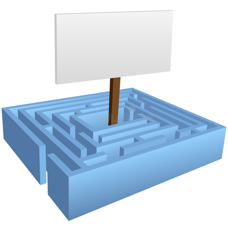 Download Maze Puzzle With Sign In The Solution Center Stock Vector - Image: 7901786