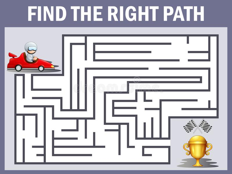 Maze racing car games find their way to the trophy royalty free illustration