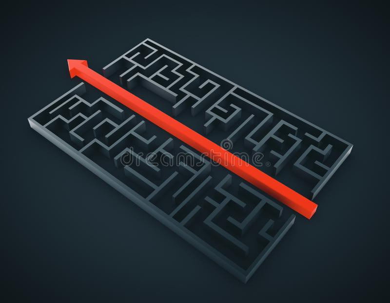 Maze with red arrow royalty free illustration