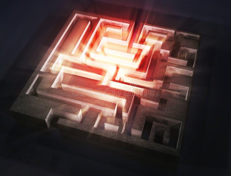Maze with red light aura inside. 3d image vector illustration