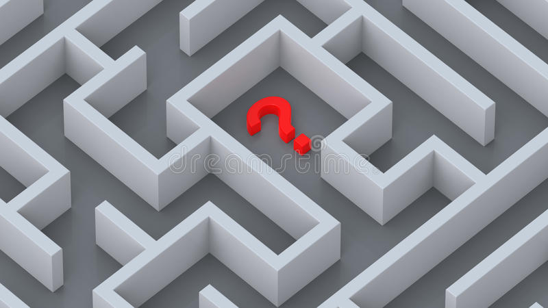 Maze and red question mark concept royalty free illustration