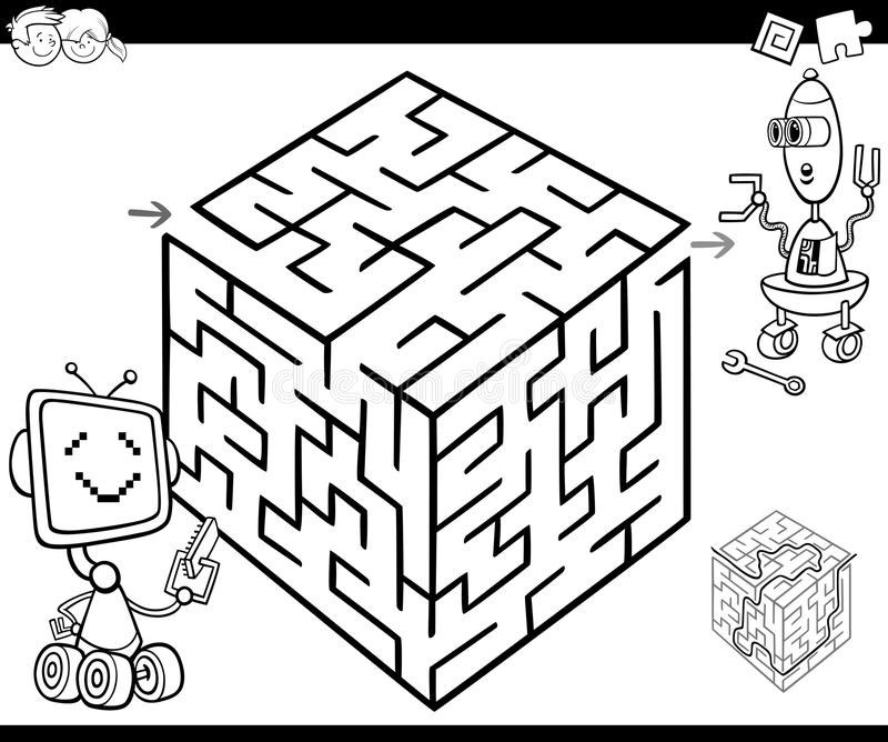 Maze with robots for coloring stock illustration