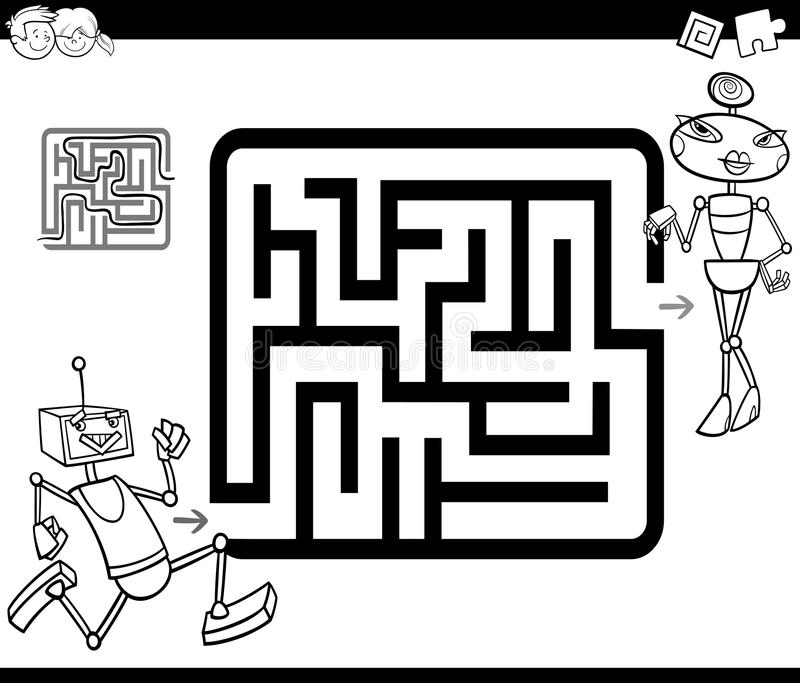 Maze with robots coloring page royalty free illustration