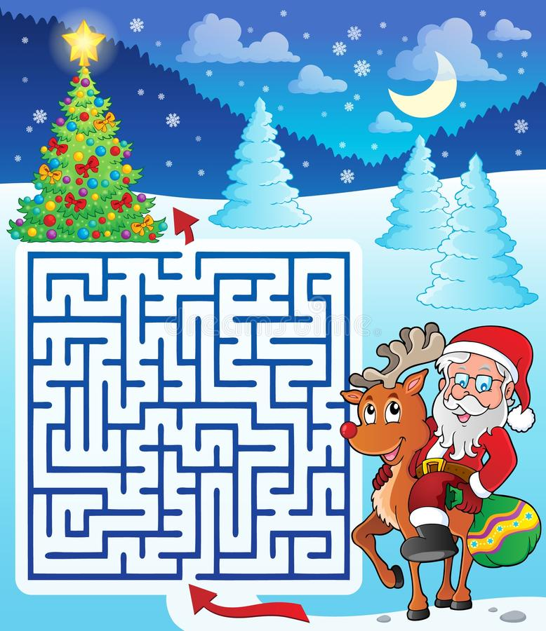Maze 3 with Santa Claus and deer stock illustration