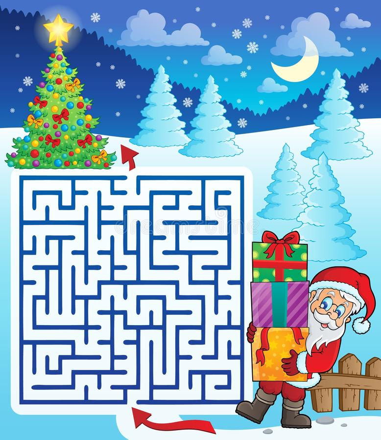 Maze 3 with Santa Claus and gifts vector illustration