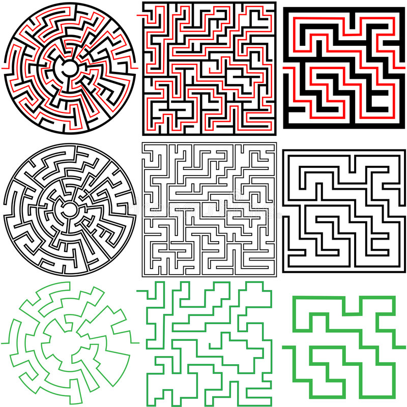 Maze Set of 3 puzzle variations with solutions. A set of 3 maze puzzles with solutions and in variations of solid and outline stock illustration